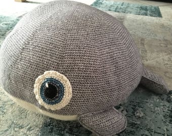 Crochet whale pillow