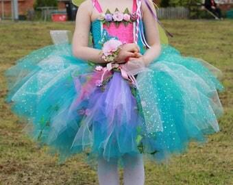 Beautiful garden fairy tutu dress handmade by The Little Fairy's Emporium