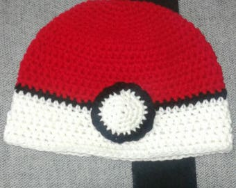 Pokemon hat, Pokeball hat, Pokeball beanie, Pokemon crochet beanie, Pokemon winter hat
