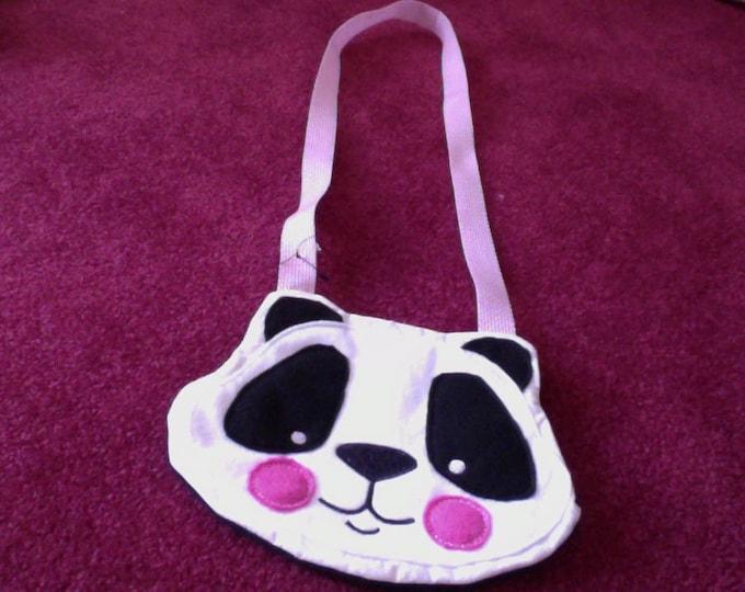 Panda Bear Cross Body Childs Purse, Little Girl Purse, Animal Purse, Black and White Lined Purse, Panda Bear Purse
