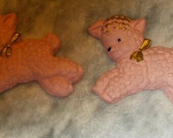 Set Of Two Vintage Mid Century Favor Pink Nursery Rhyme Chalkware Wall Hanging Sheep