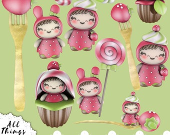 Kawaii Strawberry Girl Clipart, commercial approved clipart, bunnies clipart, cute food clipart, kawaii food clipart, strawberry clipart