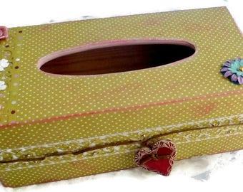 Tissue in wood, scrapee romantic, unique and original gift box