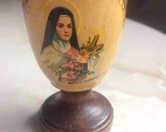 """Vintage """"Saint Thérèse"""" wooden egg Cup"""