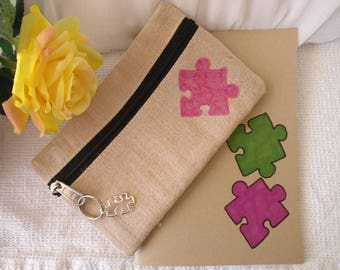 Natural pencil case and matching excercise book (back to school)