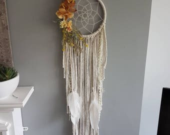 Autumn dreamcatcher, floral dreamcatcher, bohemian decor, bohemian wall hanging, boho decor, autumn floral, floral hanging, autumn wedding