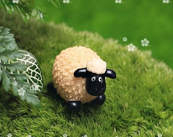 4pcs Fairy Garden Supplies Miniature Tiny Cute Sheep Family Terrarium Accessories