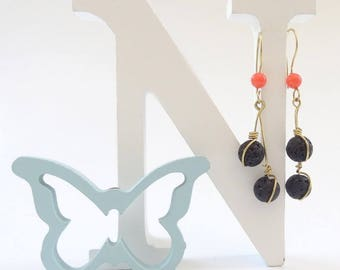 Boho Earrings, Dangle Earrings, Drop Earrings, Boho Jewelry, Handmade Earrings, Volcanic Bead, Bohemian Earrings, Gift for Woman