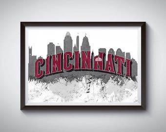 Cincinnati Skyline 2 Inspired Art Poster Print, Cincinnati Skyline Poster 2