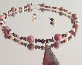 Necklace with Jasper pendant, Rhodonite beads, fresh water pearls and pomegranate