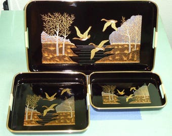 Vintage Lacquer-Ware Tray Set, Made in Japan, Bird Theme Black & Gold Japanese Lacquer-ware Set