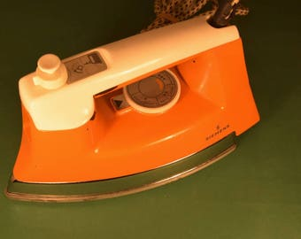 Vintage 70s 80s Electric Iron Siemens - Orange Electric Appliance  -  Working condition - Home Decor