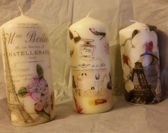 Paris - Inspired decoupage candle