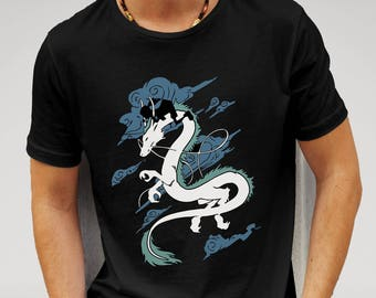 Mens Spirited Away Dragon Chihiro & Haku Studio Ghibli - Black T-shirt