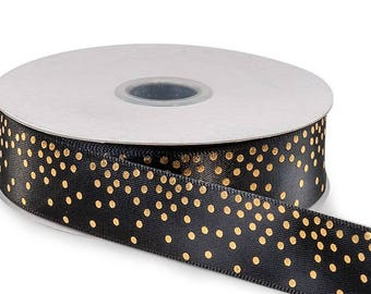 "Ribbon,  Black w/ Gold Dots Satin Confetti 7/8"" wide , 5 yards, weddings, floral, gifts, bows, Fabulous Ribbon"