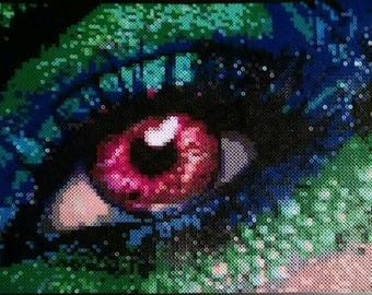 Perler Bead Art, Perler Beads, Bead Art, Whimsical Bead Art, Fantasy Art, Bead Gifts, Large Melting Bead Creation, Fantasy Eye, Melting Bead