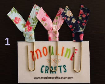 Floral ribbon paperclip bookmark, planner bookmark