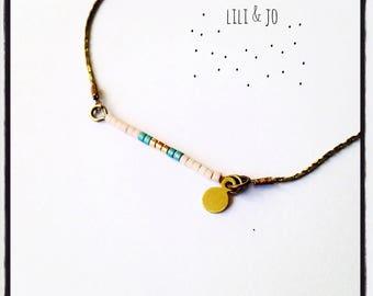Miyuki collection: necklace Choker powder, gold and green