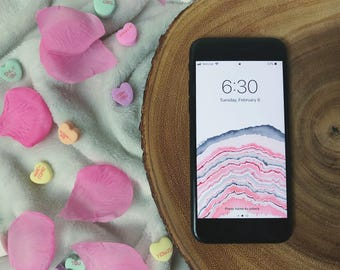 Baby Pink Geode Wallpaper for iPhone 6+, 6S+, 7+, 8+