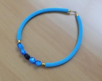Light Blue African Maasai Neckpiece/Statement Neckpiece/Glass Beaded Modern piece