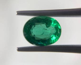 Natural Zambian Emerald oval solitaire size 1.58 carat