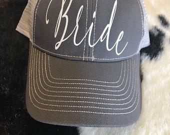 Sparkly bride trucker hat