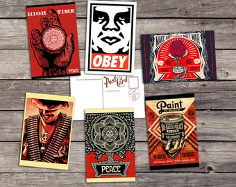Shepard Fairey set 6 postcards   graffiti poster   obey giant   shepard fairey   shepard fairey print   wall art print   pop art poster
