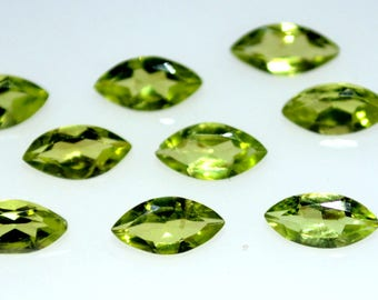 Natural 2x4-8x10  mm marquise peridot  faceted high quality gemstone 10 pieces lot