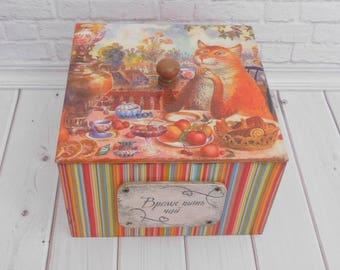Tea box, storage box, home decor, kitchen decor