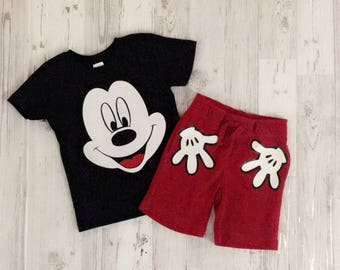 Toddlers Mickey Mouse Inspired Shirt and Shorts set by LoveJo&Co Sizes 12-18 months to 3T