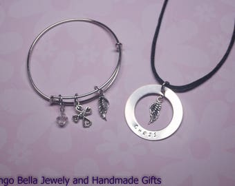 Angel Wing Necklace and Bracelet Combo