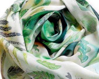 Scarves Hand painted scarf Silk scarves Stoles Cold batik