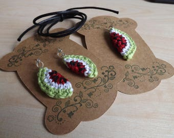 Crocheted Watermelon Earrings and Pendant set - Red