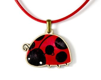 Kids Jewellery Necklace WOODEN ***LADY BUG***