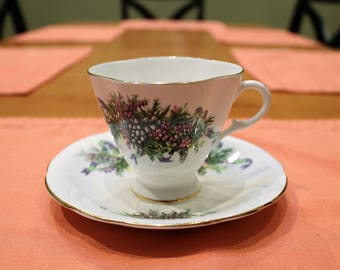 Clarence English Bone China Teacup and Saucer. Vintage.