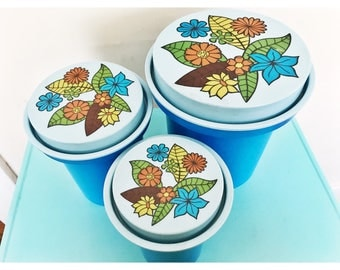 1970's Rubbermaid Blue Floral Hard Plastic Nesting Canisters