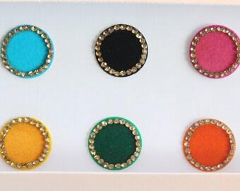12 Colorful Round Bindis ,Wedding Round Bindis,Multicolor Bindis,Colorful Face Jewels Bindis, Bindis,Bollywood Bindis,Self Adhesive Stickers