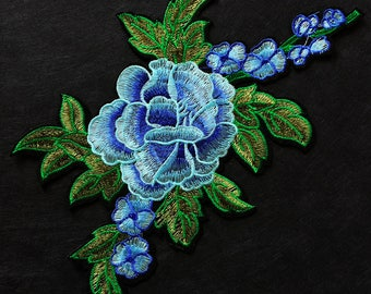 Blue Flower Patch - Embroidered Flower Vines - Iron On