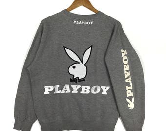 Rare!!! BIG BUNNY PLAYBOY Embroidery Big Logo Spell Out Playboy Gray Crew Neck Sweatshirt Size Medium