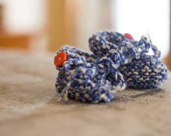 Newborn Slippers, Blue and Orange, Hand Knitted, Bow, Orange Button, Tiny Feet