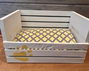 White Wooden Crate Small Dog or Cat Bed with Yellow Double Sided Cushion // Can Personalize