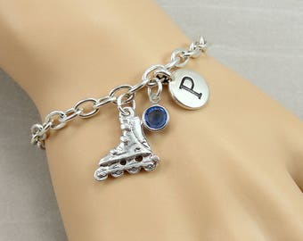 Rollerblades Charm Bracelet, Inline Skating Bracelet, Initial and Birthstone Bracelet, Silver Plated Link Charm Bracelet