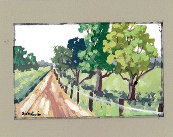 Pecan Trees Rural Farm Scene Agricultural Art Original Landscape Painting