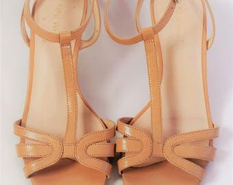 Nine West T-Strap Kitten Heels, Nude Strappy Sandals, US 7.5