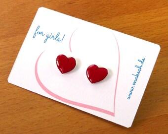 Girl children jewelry ear studs earrings heart Silver 925