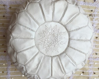 Moroccan Pouf Handmade Leather pouf  Leather Ottoman   WHITE pouf