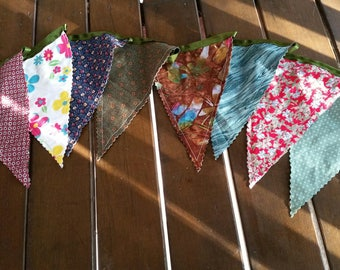 2 metres of (double sided) garden greens fabric scrap bunting