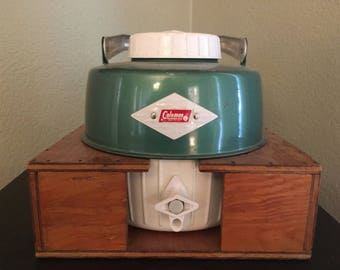 Vintage Coleman cooler with custom housing. Glamping. Camping