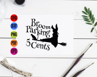 Parking Broom Svg Witch Svg, Fall Svg Halloween Svg, Halloween Cricut Svg, Witch Cut File, Witch SVG DXF, Witch SVG Designs