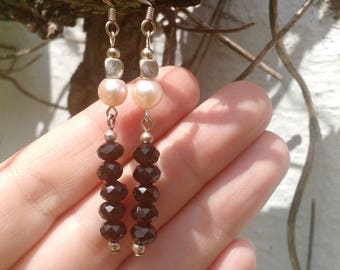 Freshwater Pearl, Black Faceted glass and Sterling Silver Earrings